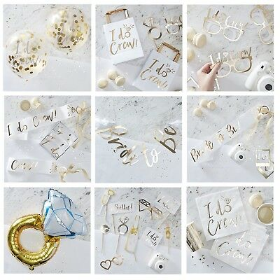 White Gold I Do Crew Bride To Be Sash Hen Party Accessories Photo Props Favours