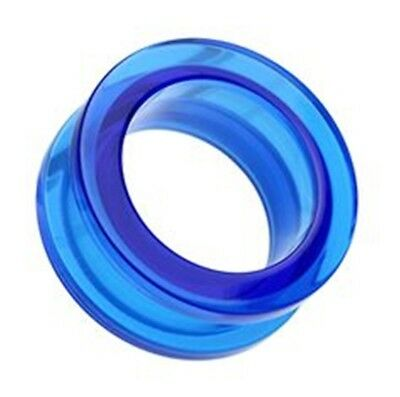 Uhren & Schmuck PAIR-Blue UV Acrylic Screw On Ear Tunnels 12mm/1/2 Gauge Body Jewelry