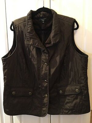Talbots Vest Brown Woman's Plus Sz 2X Fleece Lined Quilted Outside Front pockets
