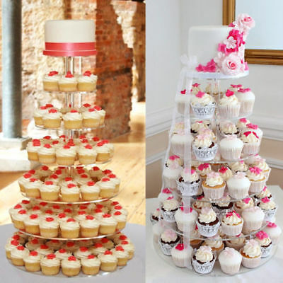 7-Tier Clear Acrylic Round Cake Cupcake Stand Tree Tower Plate Wedding Party AU