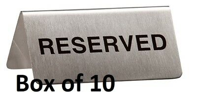 Reserved Table Sign Box of 10 Stainless Steel Restaurant Cafes