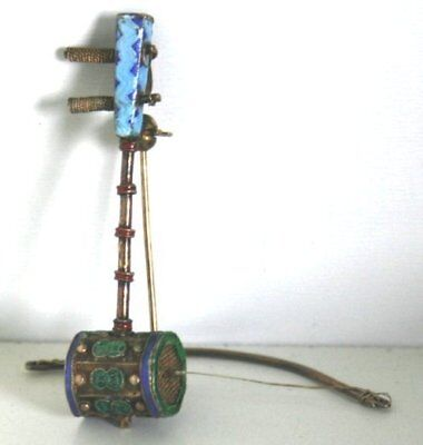 Very Early 20th Century Chinese Mini Enamel SILVER Musical Pin & Charm
