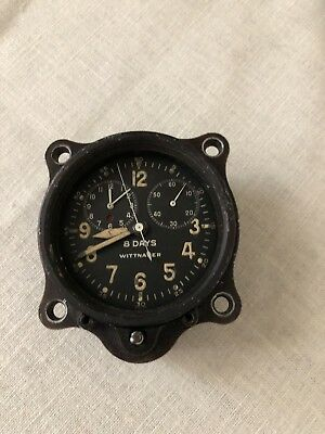 Vintage Wittnauer 8 Day Aircraft Clock Mechanical Time & Chronograph