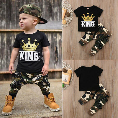 UK Toddler Kids Baby Boys Tops T-shirt Camo Hip-Hop Pants 2PCS Outfits Clothes