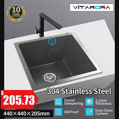 Top/Under Mount Black 304 Stainless Steel Single Laundry Kitchen Sink 440x440mm