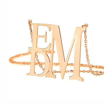 Custom Made Three initials monogram Necklace in Rose Gold Plated Silver