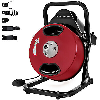 50FT*1/2'' Drain Auger Pipe Cleaner Cleaning Machine Durable GFCI Commercial