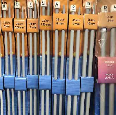 Pony Classic Single Ended Knitting Needles - 25cm 30cm 35cm 40cm - All Sizes