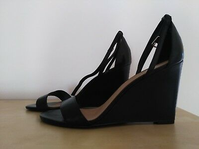 Wittner Ladies Shoes Black Leather Heels Wedges 41/10