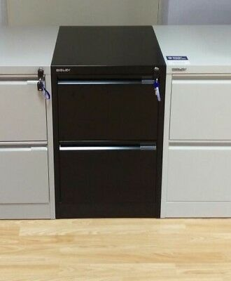 Bisley steel Filing Cabinet BS 2 Drawer BLACK foolscap new