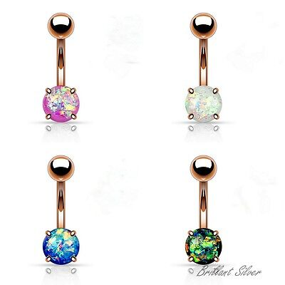 Belly Button Piercing Rose Gold Navel Piercing Stud Banana Bell Opal Stone