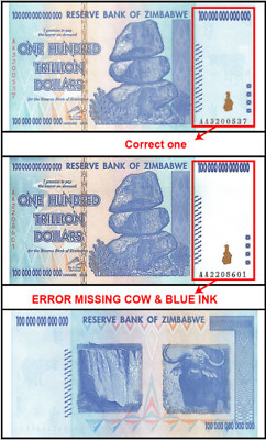 Zimbabwe $100 trillion. Uncirculated. Missing cow in watermark. Printing ERROR