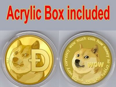 Dog Coin! Gold Plated collectible Commemorative dogecoin In Protect Acrylic Case