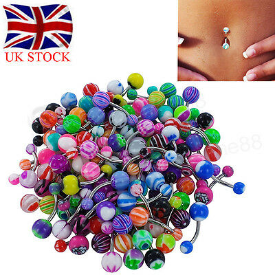 100pcs Belly Button Navel Ring Bars Stain Steel Gem Body Piercing Jewellery UK