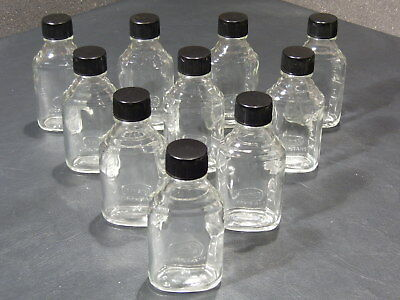 Rexall Pharmacy Glass bottles 50 ml w/plastic screw on lids 1.7 fl oz, LOT of 10
