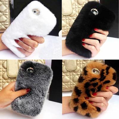 Luxury Fluffy Soft Rabbit Fur Hair Bunny Case Cover for iPhone X 8 7 6s Plus SE