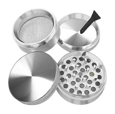 Silver 4 Piece 50mm 2 inch Metal Alloy Cigarette Tobacco Herb Grinder Magnet Top