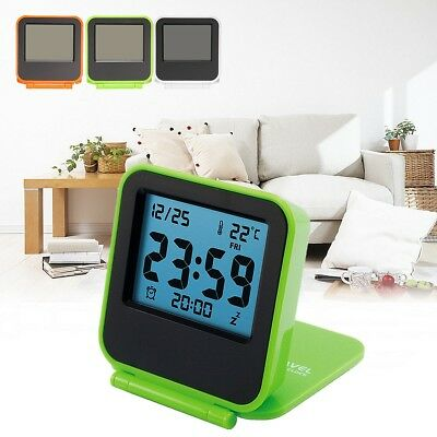 LCD Folding Travel Snooze Alarm Clock Date Temperature Display Battery Powered