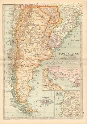 1903 Britannica Antique Map - South America, Southern Part, Buenos Aires,falklan