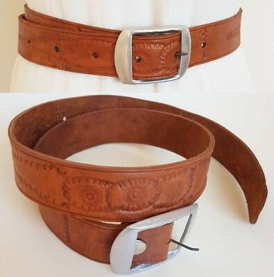 Vintage Tooled Tan Leather Belt with Silver Buckle~ Floral Design~ Small Medium