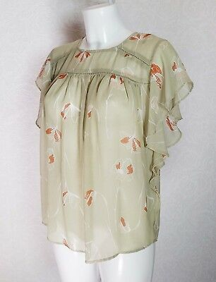 NEXT sheer Chiffon pastel Olive green High neck Flare butterfly sleeve blouse 8