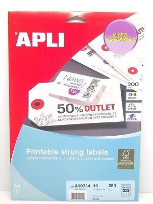 APLI Printable Strung Labels 36 x 53mm x 250 in A4 Sheets - Without Thread