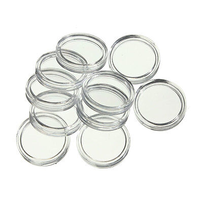 10 x 25mm Clear Coin Capsule Display Case Holder - Free Postage