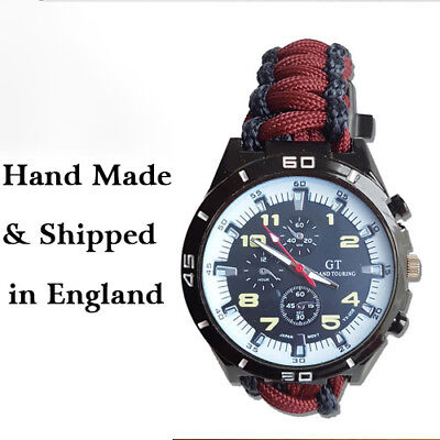 Paracord Watch with Grenadier Guards (GRG) Colours a Great Gift