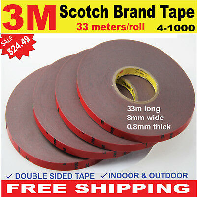 3M Scotch Brand Tape Double Sided Adhesive Tape Car Acrylic Foam 33mx 8mm.