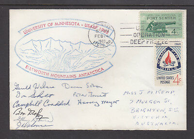 Usarp  Cover 1962 Signed X 9 Members  Elsworth Mountains, Us Navy Cancel