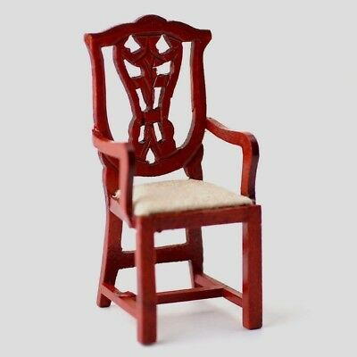 Dolls House Furniture:  Carver Chair with mahogany finish : in 12th scale