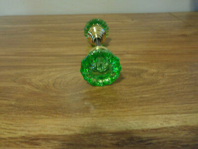 Vintage  Antique Glass Doorknobs Colored& Dyed( Green) 1920's Solid Brass Hubs