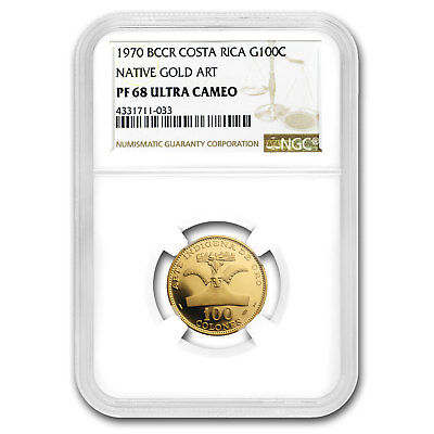 1970 Costa Rica Gold 100 Colones Indigenous Art of Gold PF-68 NGC - SKU#158960