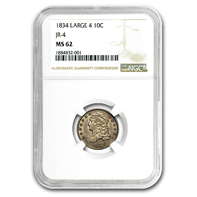 1834 Capped Bust Dime Large 4 MS-62 NGC - SKU#156136