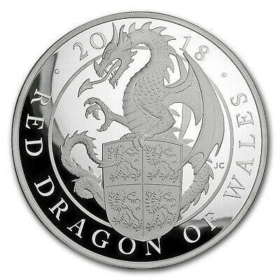 2018 GB Proof 1 kilo Silver Queen's Beast Dragon (w/Box & COA) - SKU#158893