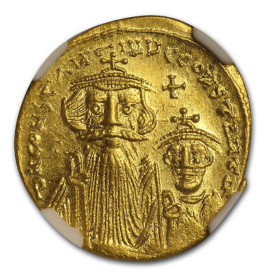 Byzantine Gold Constans II, Constant. IV (654-668 AD) MS NGC - SKU#161332