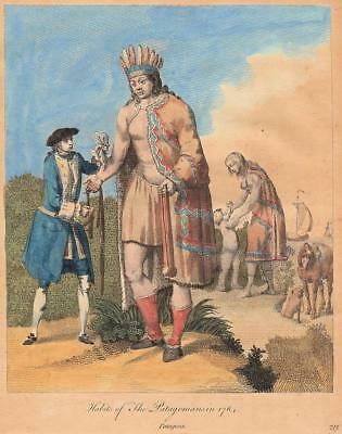 """1767 - Hand-colored engraving of the """"Habits of The Patagonians in 1764"""""""
