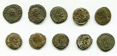 Lot of 10 Actual Cleaned Roman coins from Late Roman Empire between 300-400 AD
