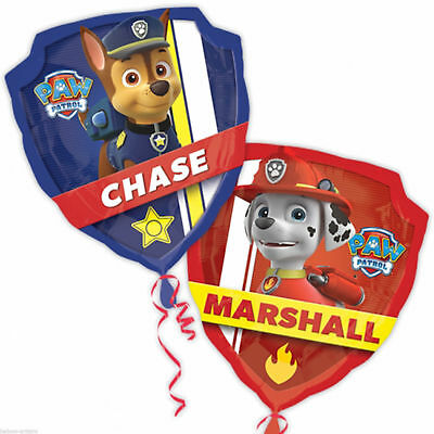 Large Paw Patrol Shield Chase Marshall double sided balloon Birthday Party Foil