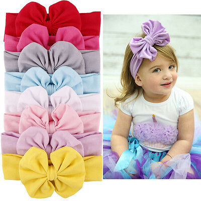 Girls Baby Cotton Bow Hairband Stretch Turban Knot Head Wrap for Kids Pip