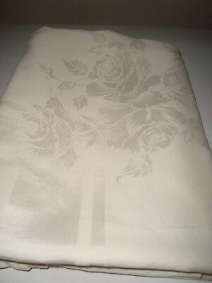 White Damask with Large Roses  Tablecloth 56 X 75