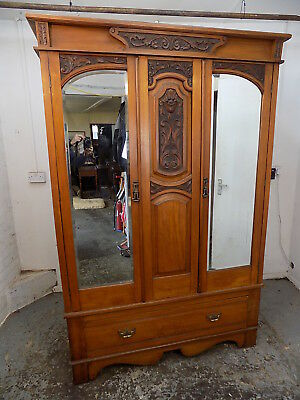 antique,edwardian,walnut,double,wardrobe,mirrored doors,drawer,fabric lining,