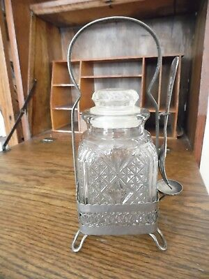 Pickle Castor Condiment Jar Glass Jar with Silver Carrier Victorian~Square Jar