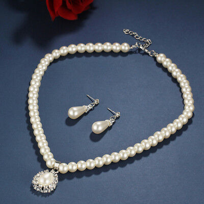 Vintage Pearl Crystal Bridesmaid Jewellery Set,Wedding Necklace Earrings Bridal