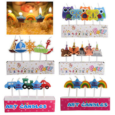 NEW 5pcs Cute Cartoon Candles Birthday Kids Craft Party Cake Topper Decoration