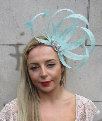 Mint Green Silver Sinamay Feather Hair Fascinator Headband Races Cocktail 5119