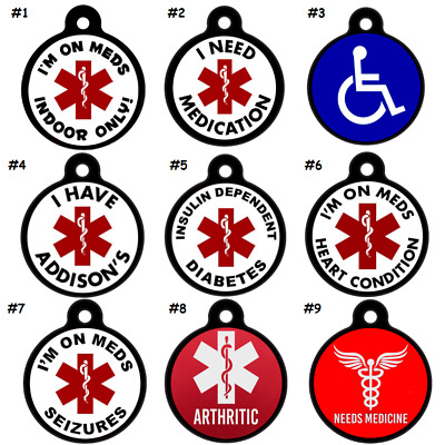 Medical Alert PET ID TAGS-Diabetes-Dog-Cat-Seizures-Addisons-ENGRAVED FREE!