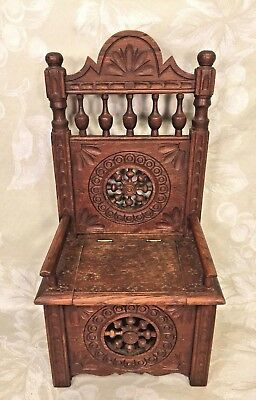 Vintage Carved Wooden Chair w/ Lift Seat Seal of Maker on Piece