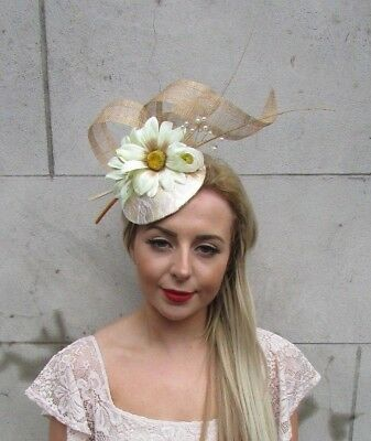 Gold Ivory Cream Daisy Flower Feather Hat Fascinator Races Ascot Statement 5121