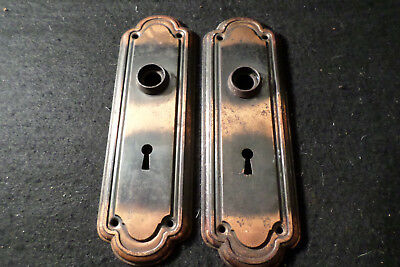 Antique Japaned Copper Flash Door Backplates 7-5/8""